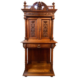 Antique French Carved Walnut Francis the First Style Sideboard, circa 1880-1890