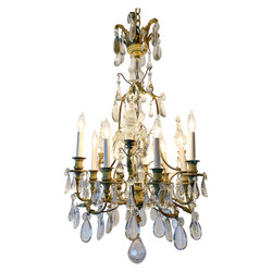 Antique French Bronze Crystal Chandelier circa 1880-1890