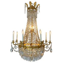 Magnificent Antique French Empire Fine Crystal and Bronze D'Ore Chandelier, Circa 1900.