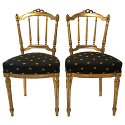 Pair Antique French Louis XVI Style Gold Side Chairs, Circa 1880.