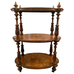 Antique English Fine Burled Walnut with Inlay 3 Tier Etagere on Casters, Circa 1860.