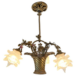 "Antique French ""Marie Antoinette"" Style Gold Bronze Basket Chandelier with Dresden Flowers, Circa 1880."