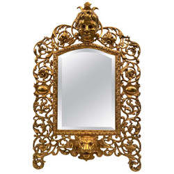 Antique English Victorian Cast Brass Ornately Framed Beveled Mirror with Lion and Floral Motif, Circa 1880's. Can be used for table top or hung on a wall.