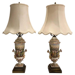 Pair Antique Italian Capo Di Monte Porcelain Urns Made Into Lamps, Circa 1890.