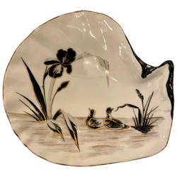 "Antique German Art Deco ""Weimar"" Porcelain Seafood Plate with Hand-Painted Lily & Ducks."