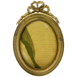 Antique French Louis XV Style Bronze D'Ore Oval Picture Frame, Circa 1890.