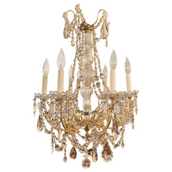 Antique French Gold Bronze and Cut Crystal Chandelier, Circa 1890.