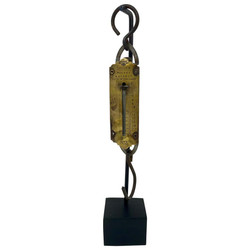 "Antique English Spring Balance Pocket Scale Made By ""Salter Co."" on Custom-Made Stand, 100 Years Old."