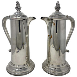 Pair Antique English Victorian Silver-Plated Tankards, Circa 1870-1890. Can Also Be Sold Individually.