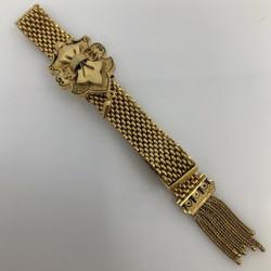Antique American 10 Karat Gold and Black Enamel Mesh Bracelet with Fringe Tassel