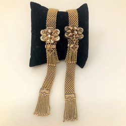 Pair Antique American Diamond 14 Karat Gold and Black Enamel Mesh Bracelets with Fringe Tassels.