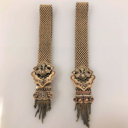 Pair Antique American Seed Pearl 10 Karat Gold and Black Enamel Mesh Bracelets with Fringe Tassels.