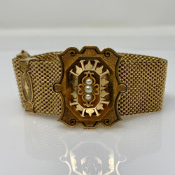 Antique American 14 Karat Gold, Black Enamel and Seed Pearl Mesh Slide Bracelet