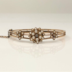 Antique English Victorian 15 Karat Gold Pearl and Diamond Bangle Bracelet.
