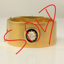 Exquisite Hand-Made 18 Karat Gold 2.5 Carats Diamond and Enamel Bangle Cuff.