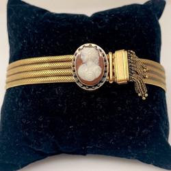 Antique 15 Karat Gold Cameo Slide Bracelet.