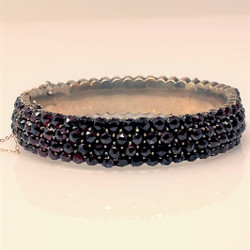 Antique Bohemian Garnet Set in Sterling Vermeil Bangle Bracelet.