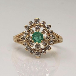 Estate 14 Karat Gold Emerald and Diamond Ring