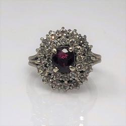Estate 14K 1K Ruby and 1.4K Diamonds (TW) Ring circa 1950s