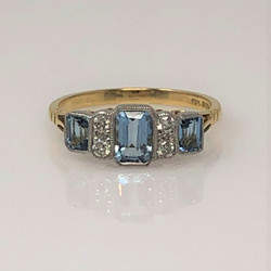 Hand-Made 18 Karat Gold Aquamarine and Diamond Ring.