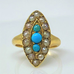 Antique English 15 Karat Gold Persian Turquoise and Pearl Ring