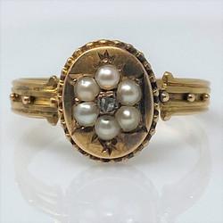 "Antique English Victorian 15 Karat Gold Pearl and Diamond Ring, Hallmarked ""Birmingham."""