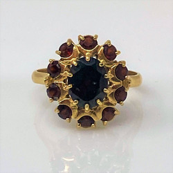 Estate 14 Karat Gold Garnet Cluster Ring