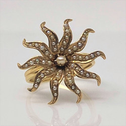 Antique American 14 Karat Gold Seed Pearl Starburst Ring