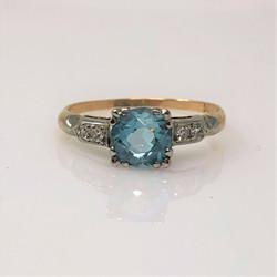 Antique American 14 Karat Gold Zircon and Diamond Ring