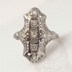 Antique American Art Deco 14 Karat White Gold and Diamond Ring