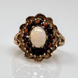 Estate American 14 Karat Gold Garnet and Opal Ring