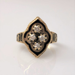American Made 14 Karat Gold Diamond and Black Enamel Ring