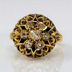 Antique American 14 Karat Gold and Black Enamel Old Mine Cut Diamond Ring