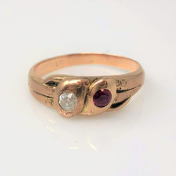 Antique American 14 Karat Gold Diamond and Ruby Snake Ring