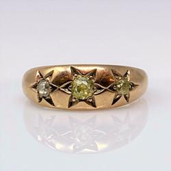 Fine Antique Old Mine Cut 3 Stone Diamond Ring