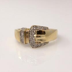 Estate American Made 14 Karat Gold and Diamond Buckle Ring