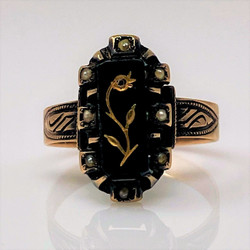 Antique English Victorian 9 Karat Gold Onyx and Seed Pearl Ring.