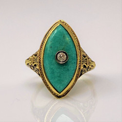 Antique American 14 Karat Gold Jade Ring