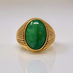 Estate American 14 Karat Gold Jade Ring