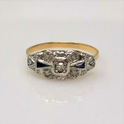 Hand-Made American 14 Karat Gold Diamond and Sapphire Ring