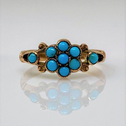 Antique English 9 Karat Gold Persian Turquoise Ring