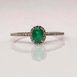 Hand-Made 14K White Gold Emerald and Diamond Ring