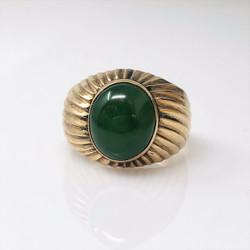Antique English 18 Karat Gold and Jade Ring