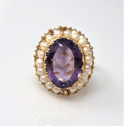 American 14 Karat Gold Seed Pearl and Amethyst Ring
