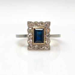 Estate American 14 Karat Gold and Platinum Sapphire and Diamond Ring