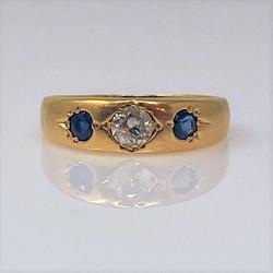 Antique English 18 Karat Old Mine Diamond and Sapphire Ring