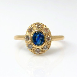 American-Made 14 Karat Gold Sapphire and Diamond Ring