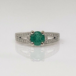 Estate 18 Karat Gold Emerald and Diamond Ring