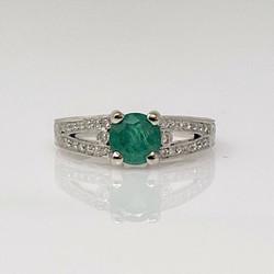 Estate 18 Karat Gold Emerald and Diamond Ring
