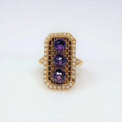 14 Karat Gold Amethyst and Pearls Ring